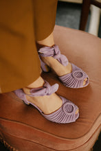 Beautiful lilac suede sandals by British Designer Miss L Fire.