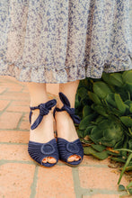 Loretta peep toe navy heels by Miss L Fire. Dress by Serafina. Both stores on Mission Street, San Marino, California.