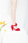 Loretta Red Luxe Ruched Peep Toe Heel