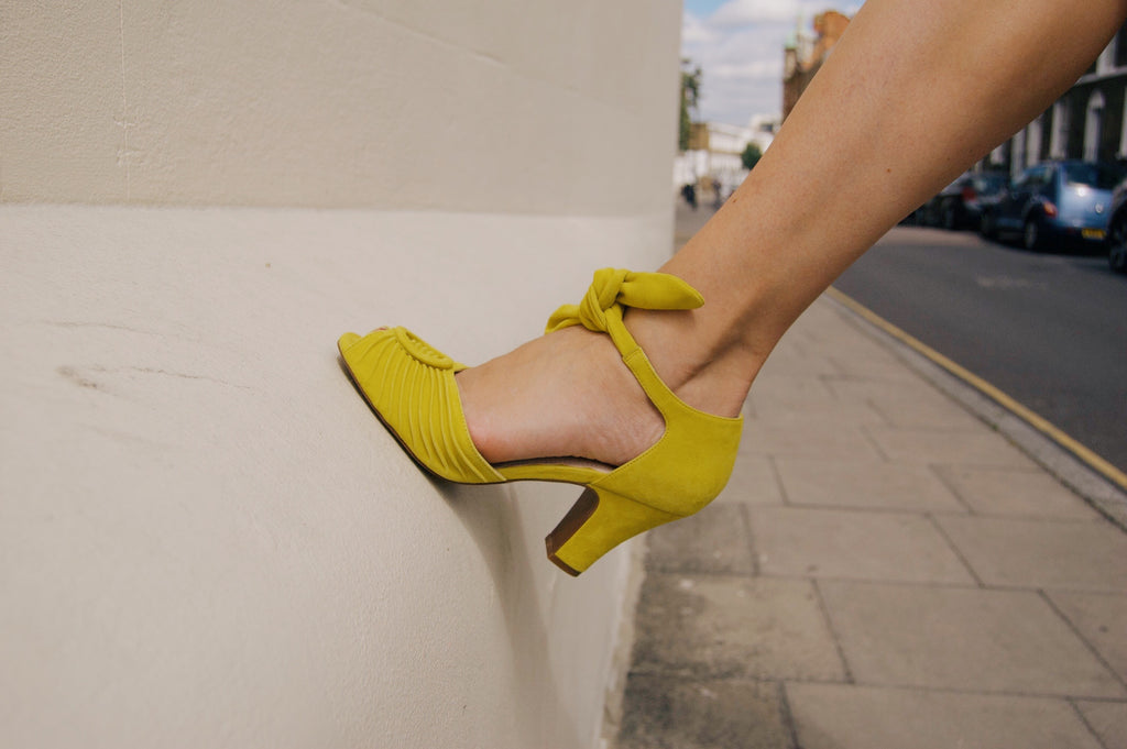 Loretta peep toe, vintage inspired tie front sandal in lemon yellow with three inch heel, by Miss L Fire.