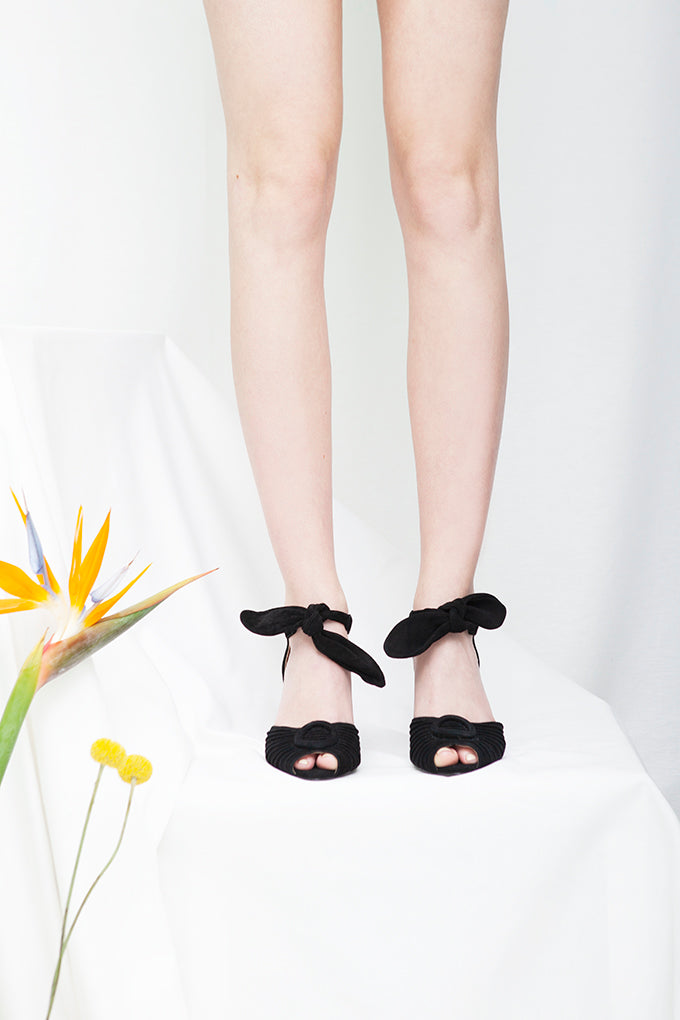Loretta peep toe sandals in black suede with ruched vamp, by Designer Miss L Fire.
