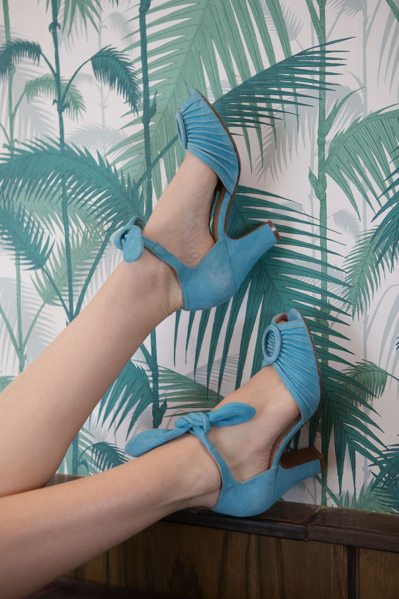 Loretta blue suede peep toe sandals by Designer Miss L Fire.