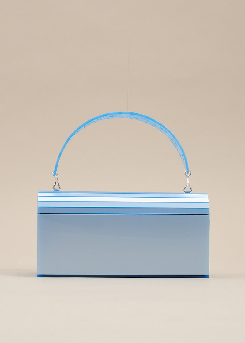 Francesca carved lucite pale blue handbag by Miss L Fire. Features a detachable handle so that the purse can be worn also as a clutch bag. Perfect for  brides or bridesmaids. Handmade in Barcelona.