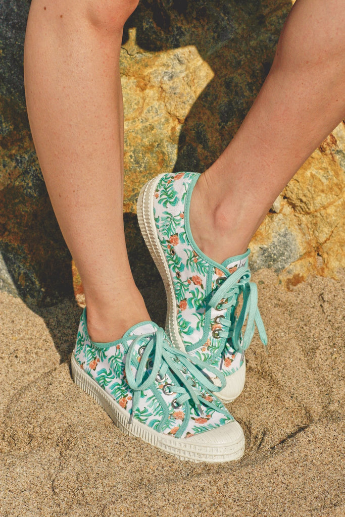 Novesta x Miss L Fire palm leaf print sneakers. Vintage inspired . Miss L Fire exclusive.