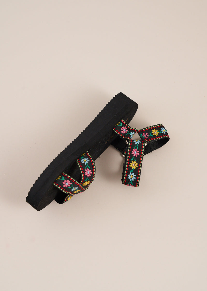 Michiko Black Embroidered Sports Sandal
