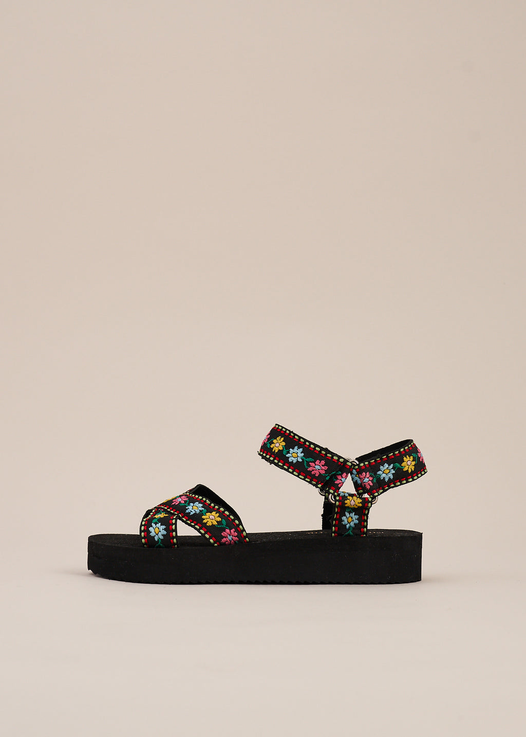 Michiko velcro strap black x over sports strap sandal with delicate floral embroidery and low comfortable wedge by Miss L Fire.  Vegetarian shoes.