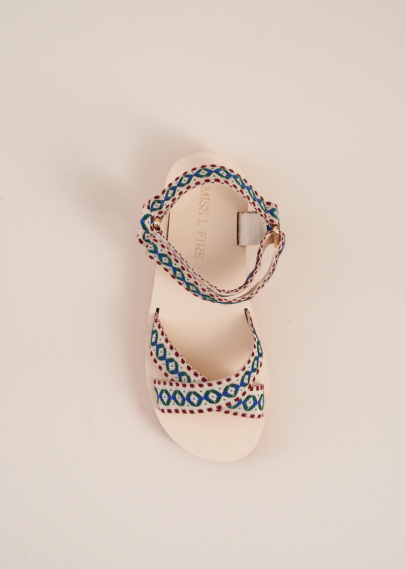 Michiko Natural Embroidered Sports Sandal
