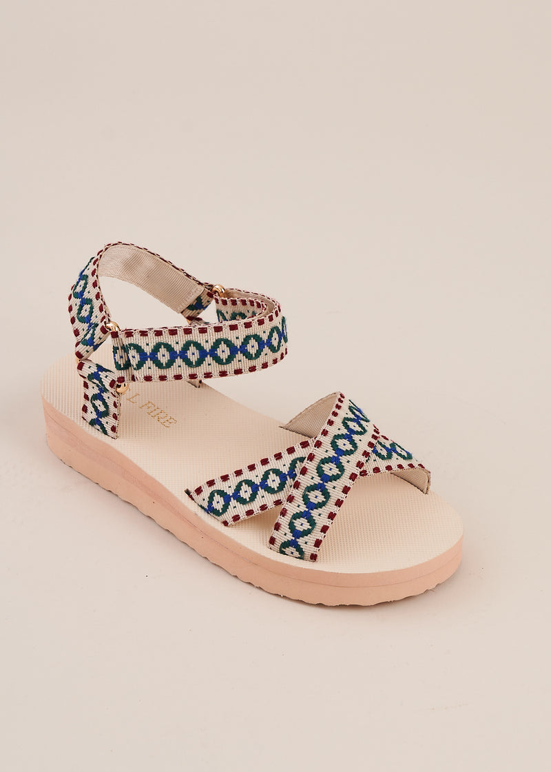 Michiko velcro strap off white x over sports strap sandal with delicate floral embroidery and low comfortable wedge by Miss L Fire.  Vegetarian shoes.