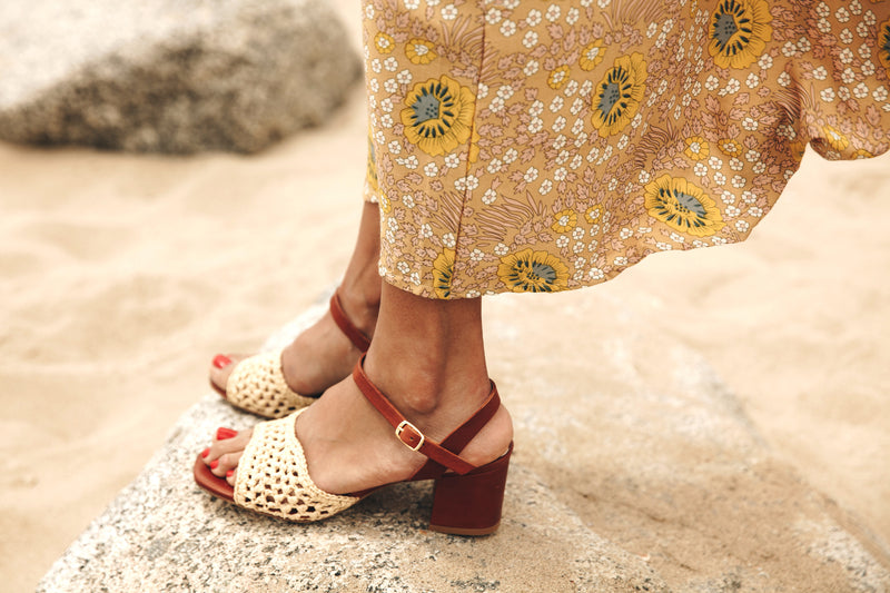Miro hand woven natural raffia sandal with mustard contrast block heel and ankle strap by Miss L Fire. Limited edition, ethically made in Portugal.
