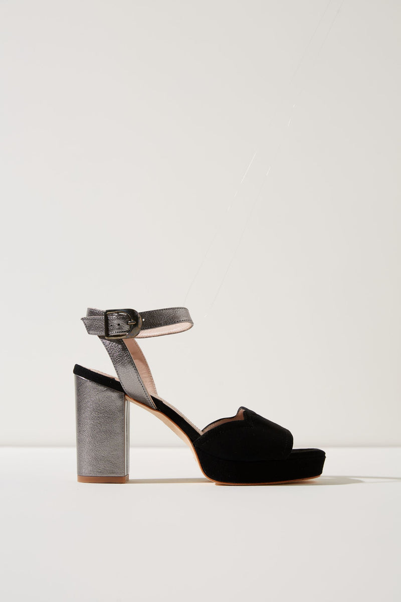 Madeleine Black and Pewter Platform Sandal