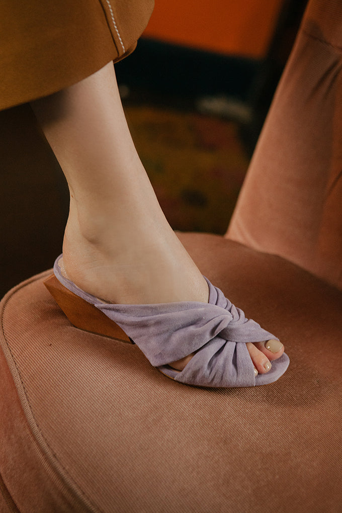 Comfortable soft suede mules with wood heel by Miss L Fire.