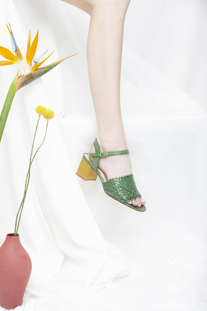 Miro green woven leather sandal with contrast lime block heel by Miss L Fire.