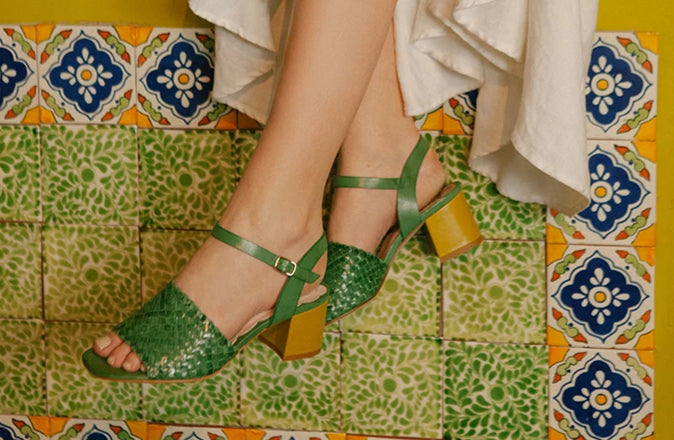 Miro hand woven apple green sandal with mustard contrast block heel by Miss L Fire. Limited edition, ethically made in Portugal.