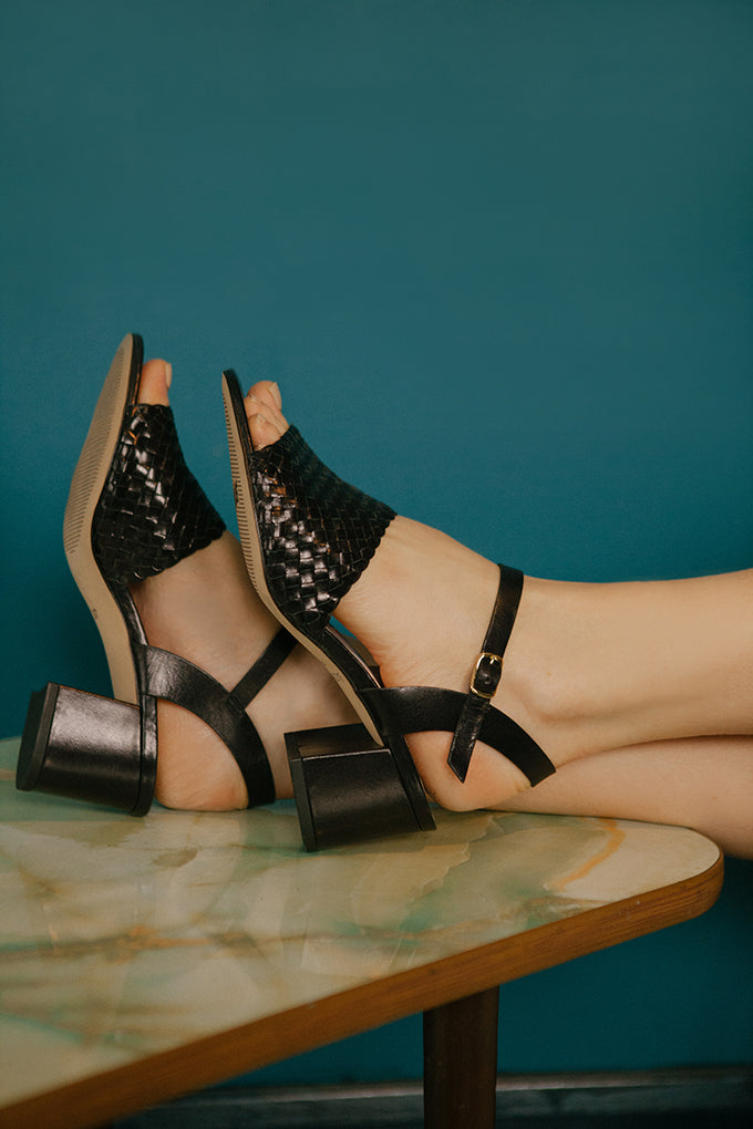 Black woven leather heeled sandals by British Designer, Miss L Fire. Made in Portugal