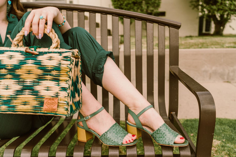 Miro green woven leather ladies sandals with green woven raffia bag. Available at the Miss L Fire store , Mission Street, San Marino, California.