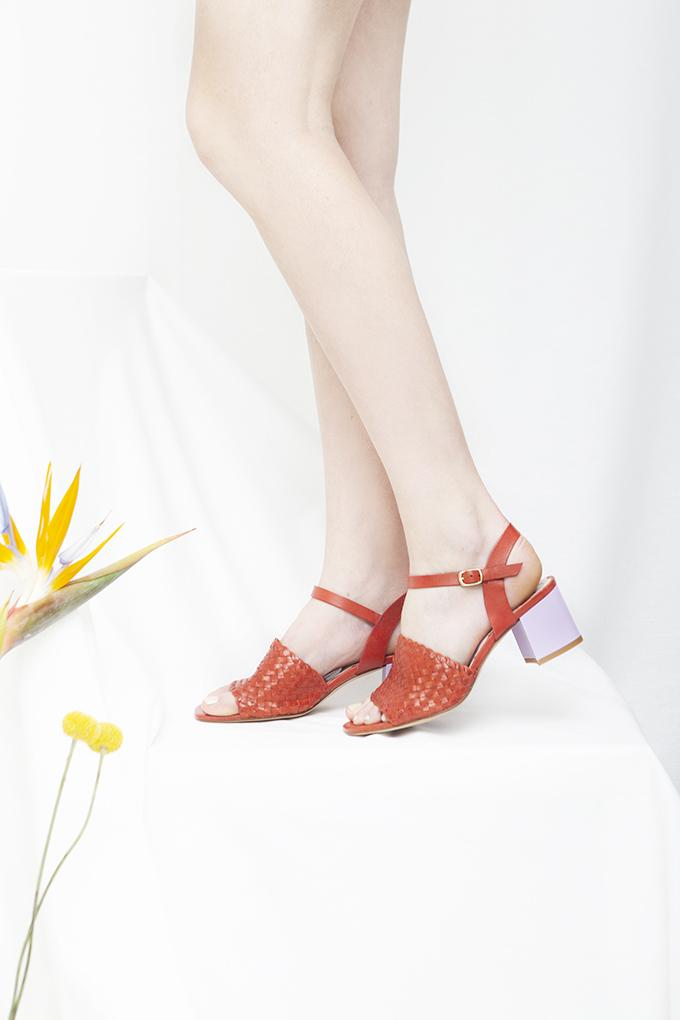 Miro red woven leather sandals with Lilac block heel. By Miss L Fire