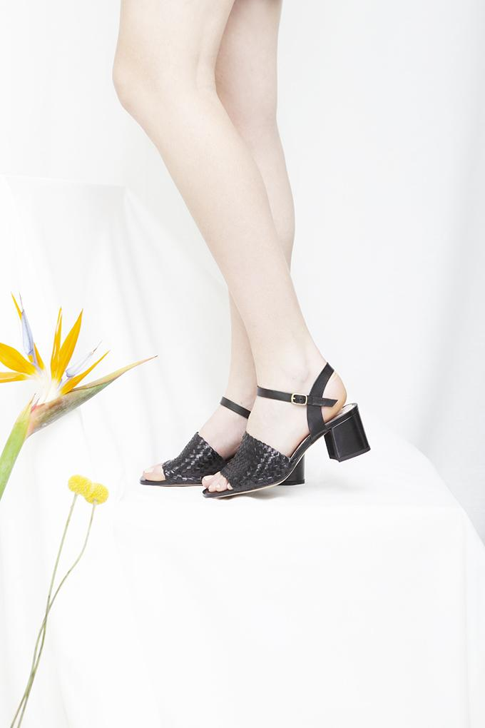 Miro hand woven black leather sandals by Miss L Fire. Small batch production, made in Portugal.