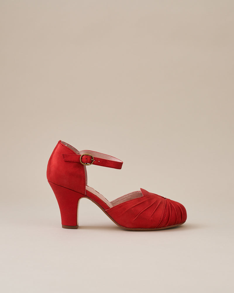 Amber Luxe Red Sparkle Suede Ankle Strap Shoe