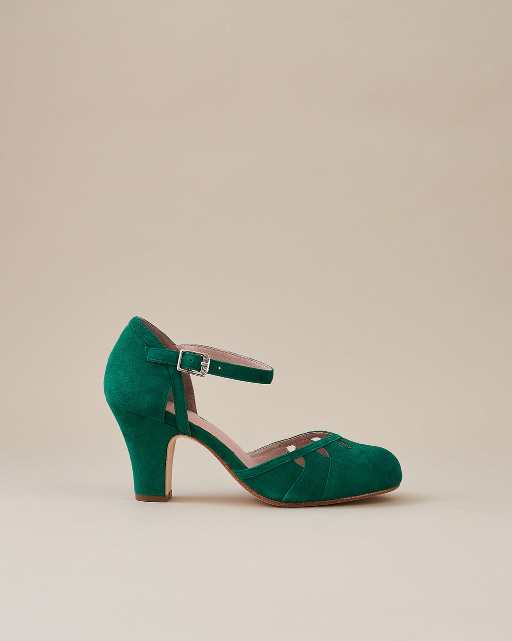 Lucie Kelly Green Suede Two Part Panelled Bar Heel