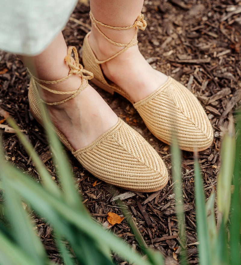 Natural woven raffia sandals by Miss L Fire