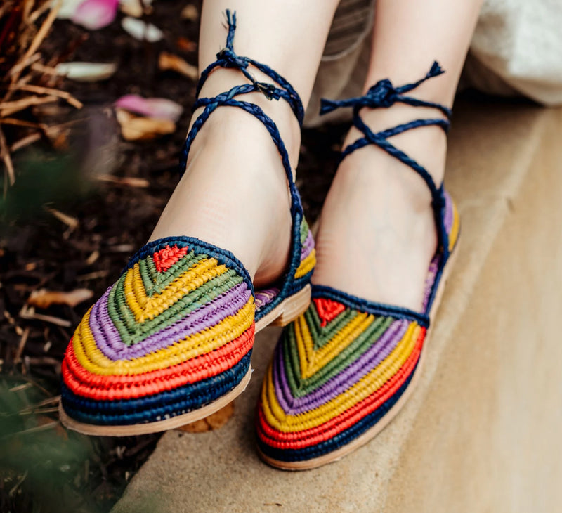 Casablanca flat beach sandals in woven raffia by Miss L Fire