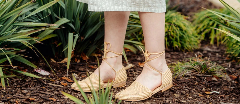 Natural woven raffia sandals and half moon bamboo bag by British Designer Miss L Fire