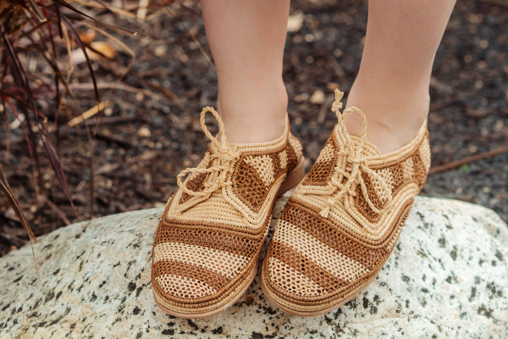 Marrakech tan stripe natural woven raffia ladies lace up shoes with leather sole by British Designer Miss L Fire.