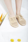 Marrakech natural woven raffia ladies Oxford lace up shoes with leather lining and outsole by Designer Miss L Fire