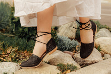 Made in Morocco woven raffia sandals with ankle ties by Miss L Fire