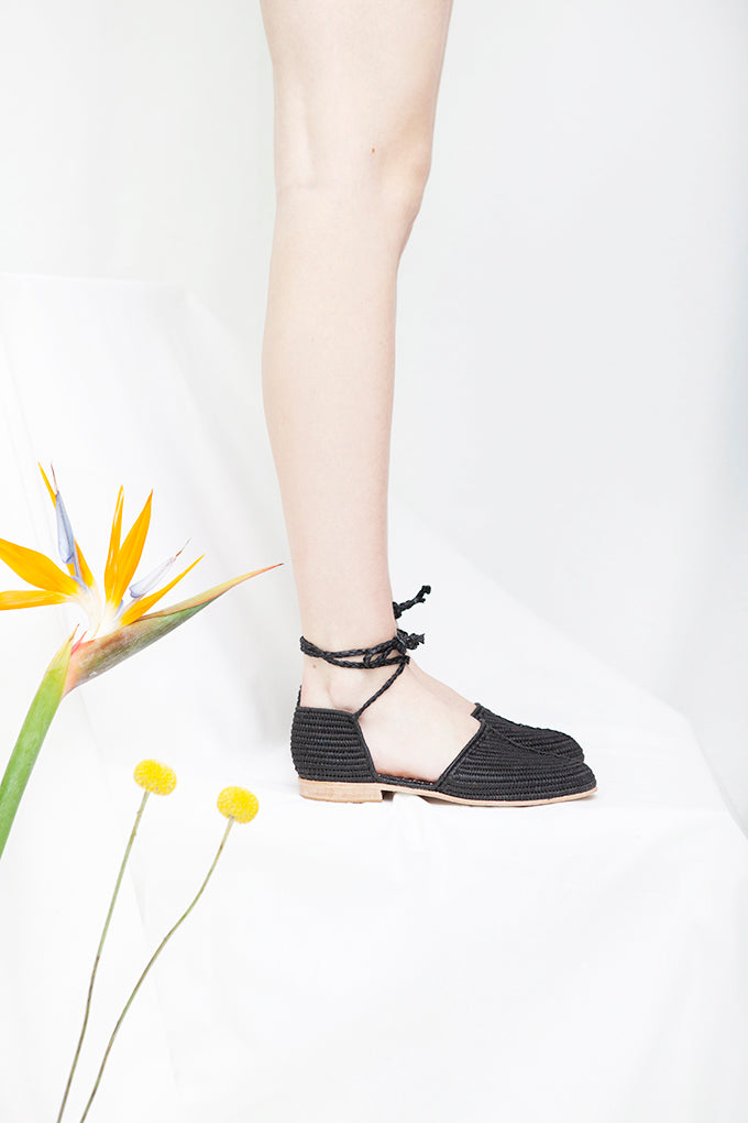 Casablanca Black Raffia Ankle Tie Sandal- LAST PAIRS SIZES 39 & 40!