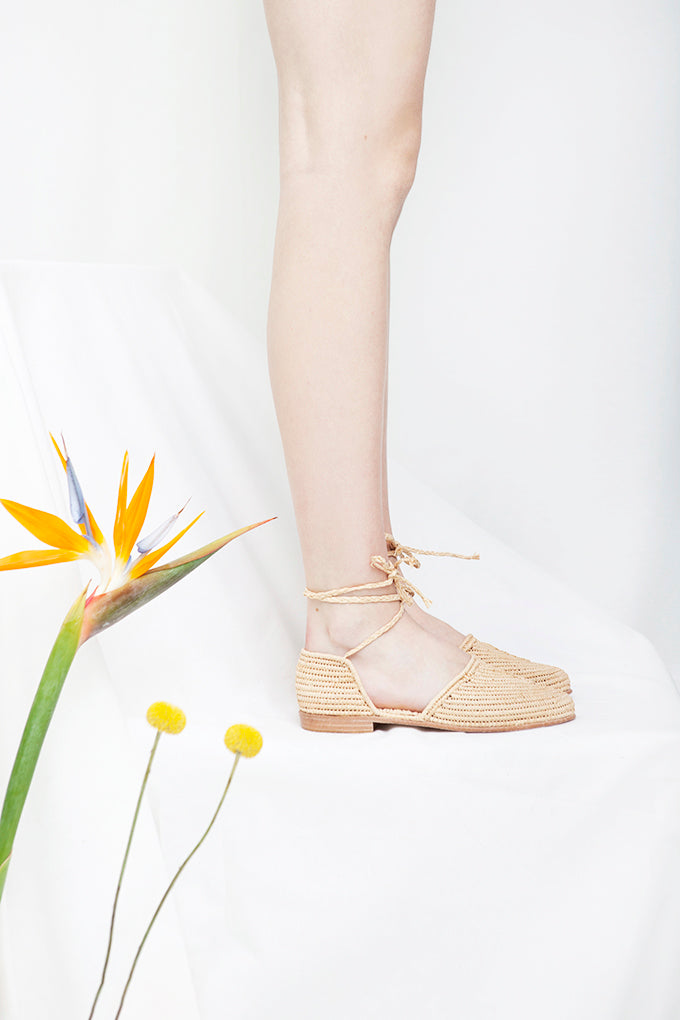 Casablanca Natural Raffia Ankle Tie Sandal- LAST PAIRS SIZES 40 & 41!