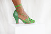 Paloma hand woven spaghetti strap rope tie heeled sandals in apple green by Miss L Fire. Limited edition, vintage inspired. Luxury shoes.