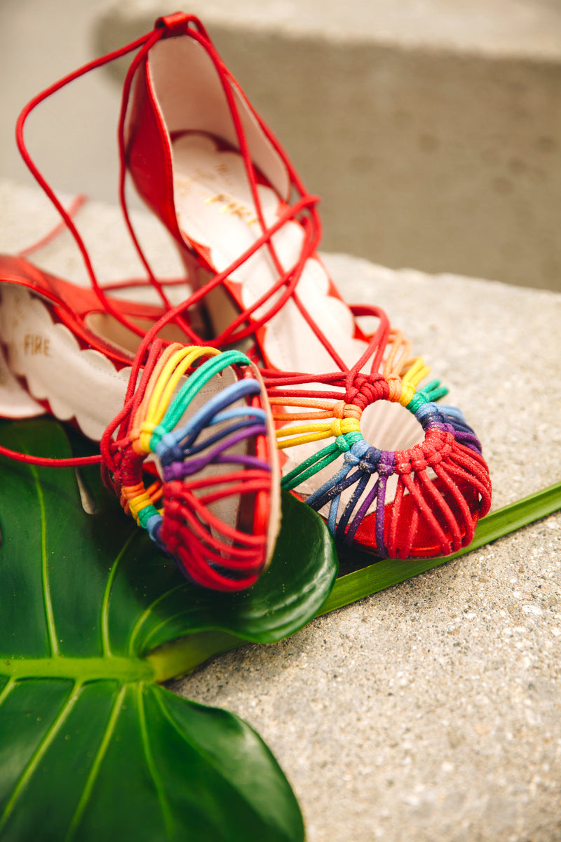 Paloma rainbow strappy macrame rope sandal in rainbow and red by Miss L Fire