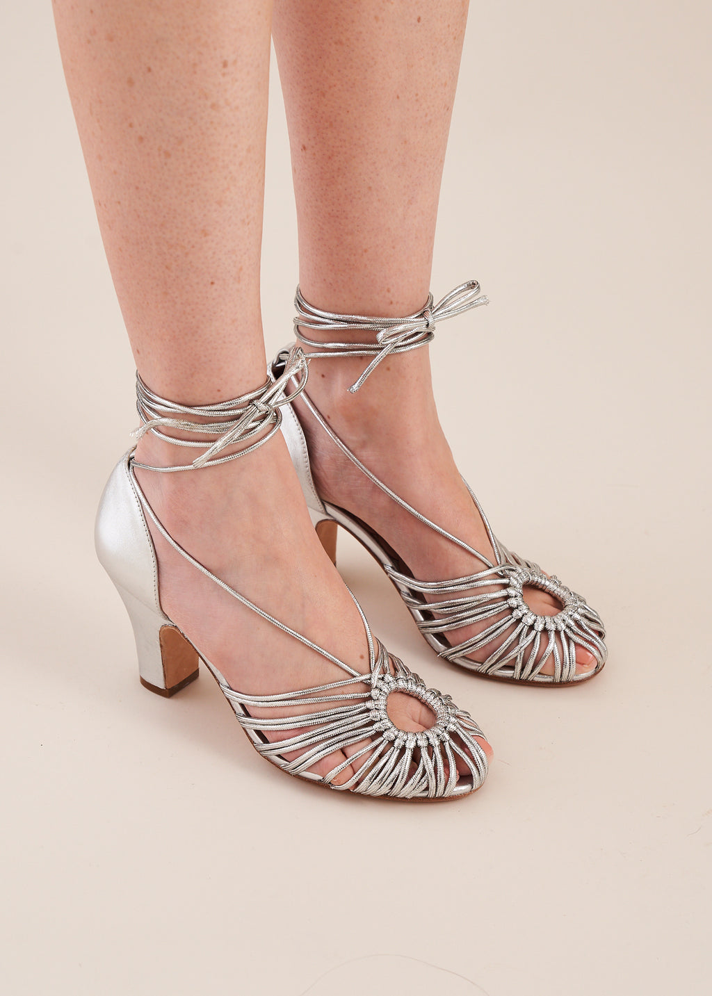 Paloma hand woven spaghetti strap rope tie heeled sandals in silver by Miss L Fire. Limited edition, vintage inspired. Luxury shoes.