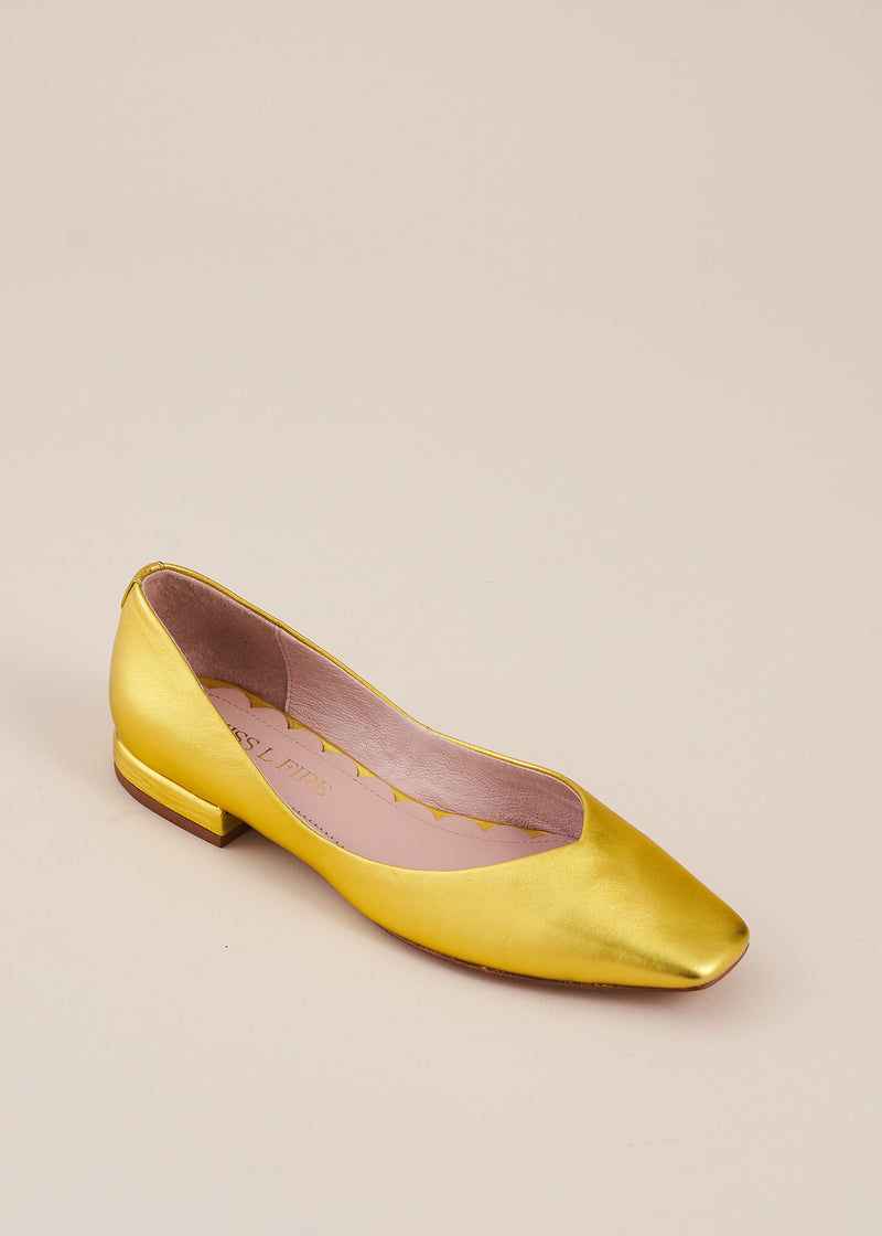 Polly Gold Metallic Square Toe Ballet Flat