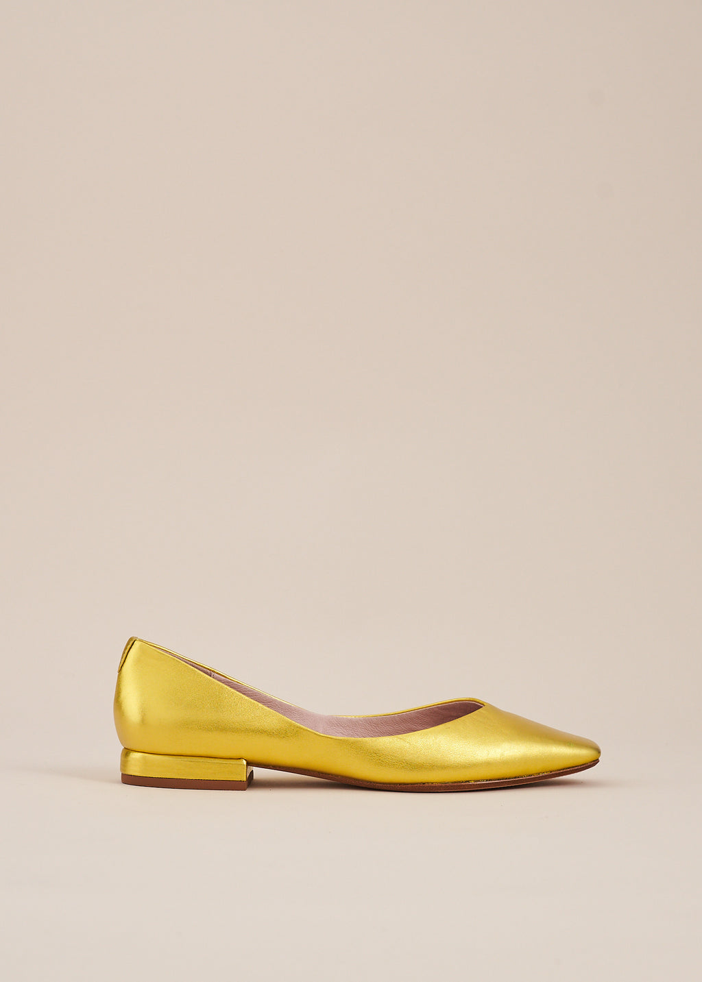 Polly by Miss L Fire in gold metallic leather is the perfect, pared down, elegant  ballet flat that you will want to wear every day. Ethically made.