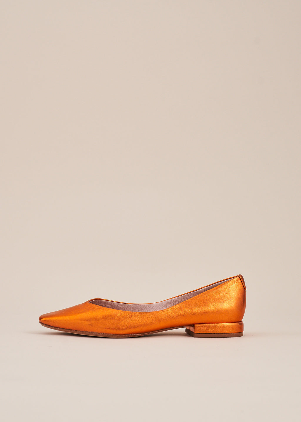 Polly Orange Metallic Square Toe Ballet Flat- LAST FEW PAIRS!