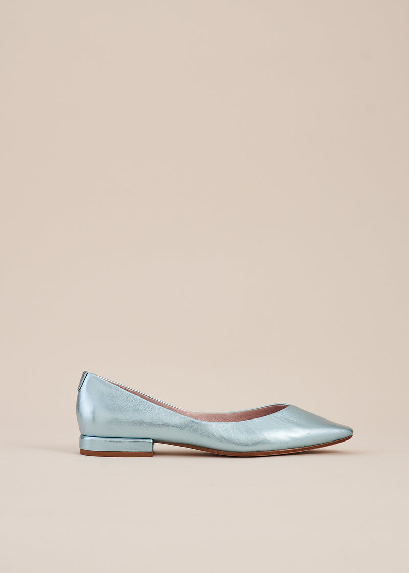 Polly Sky Blue Metallic Square Toe Ballet Flat