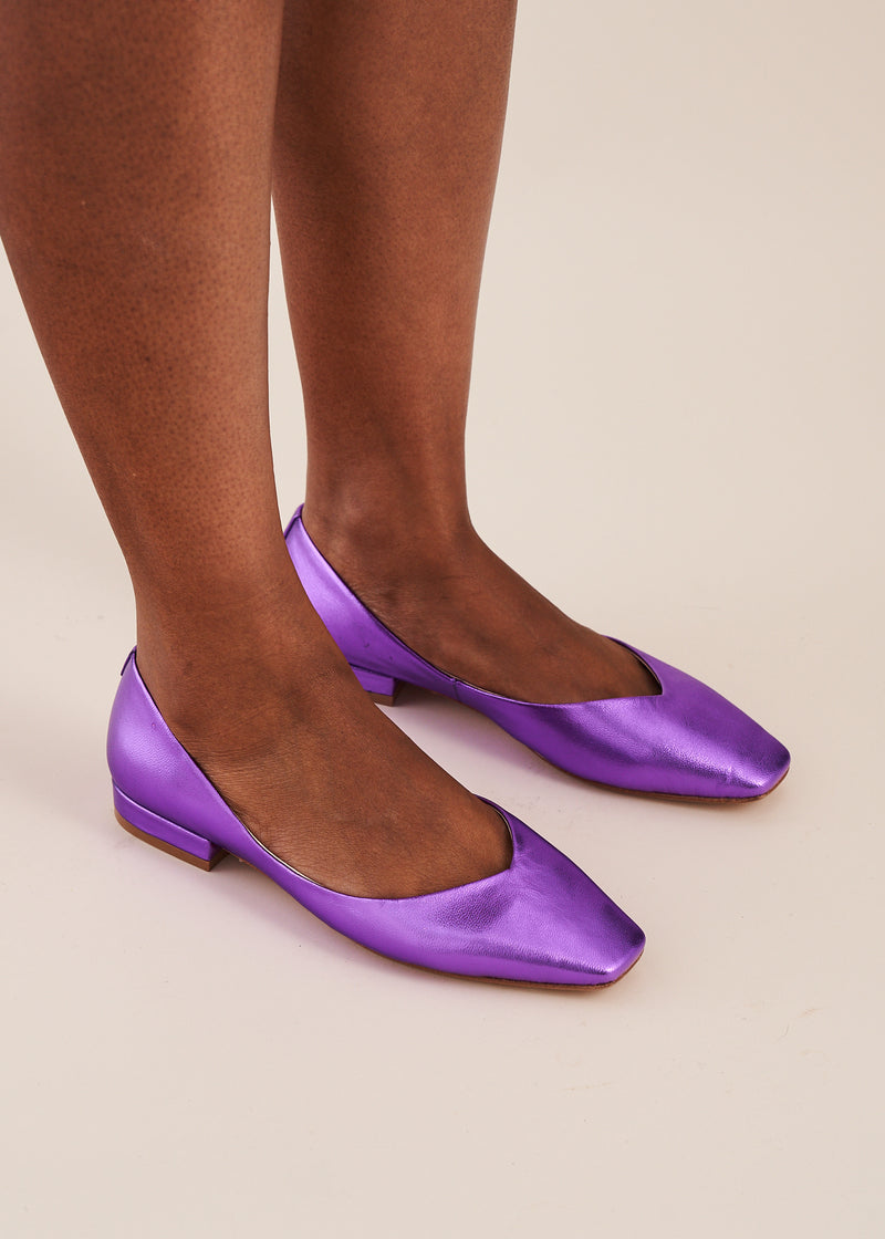 Polly Violet Metallic Square Toe Ballet Flat
