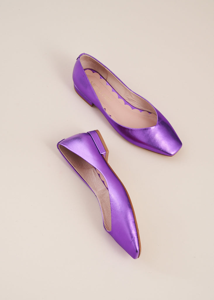 Polly in violet metallic leather is the perfect, pared down, elegant  ballet flat that you will want to wear every day. Ethically made by Miss L Fire.