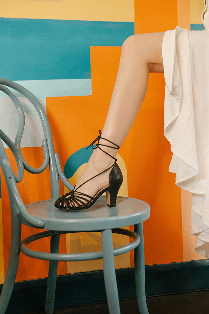 Paloma spaghetti strap summer sandals by Miss L Fire in black leather and cord.