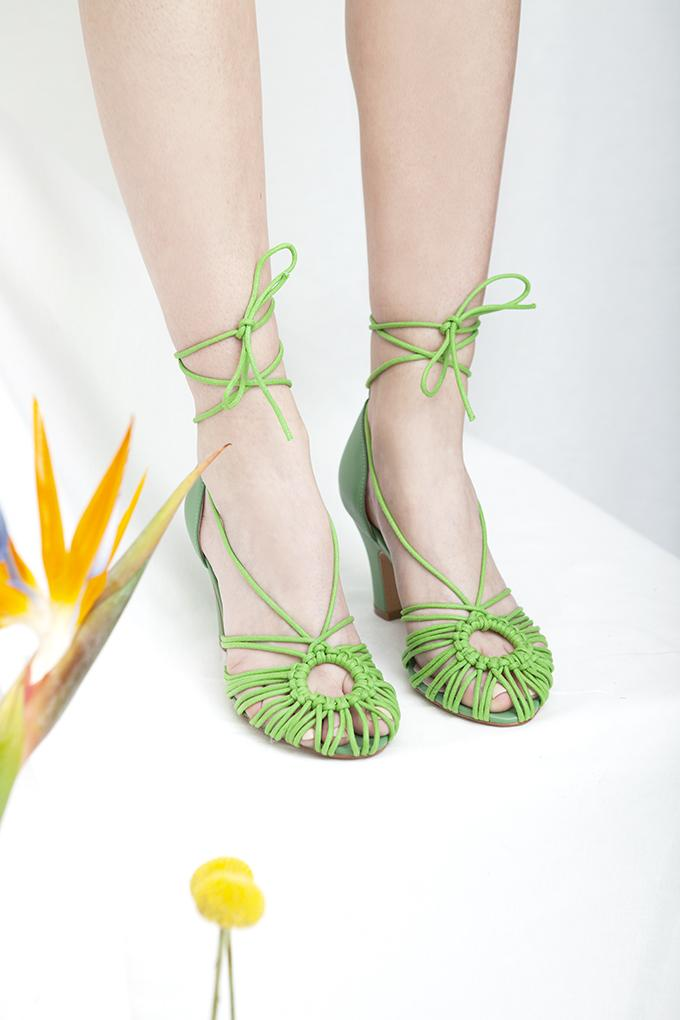 Beautiful Paloma spaghetti strap heeled sandals in green leather and cord by Designer Miss L Fire