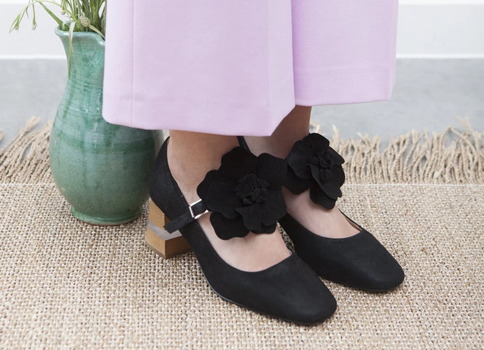 Pamela black leather Mary Jane's with wood and perspex heel and removable flower trim. By Miss L Fire