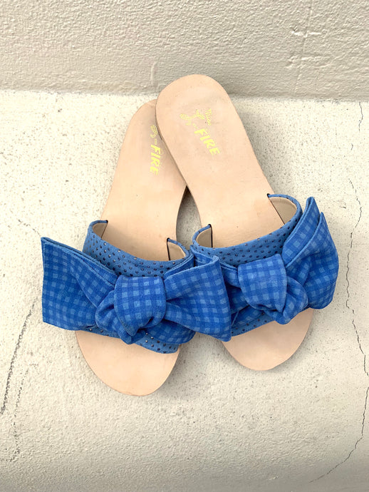 Serafina blue gingham slide with bow detail by British Designer Miss L Fire