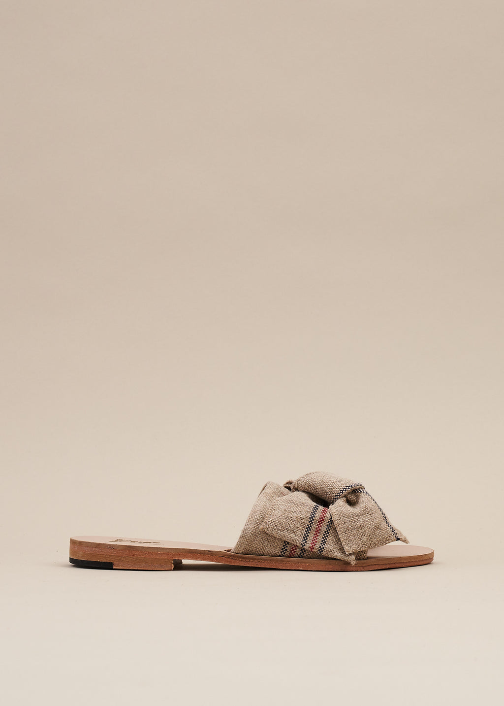 Serafina Natural Linen Bow Detail Flat Sandal - EXCLUSIVE COLOR