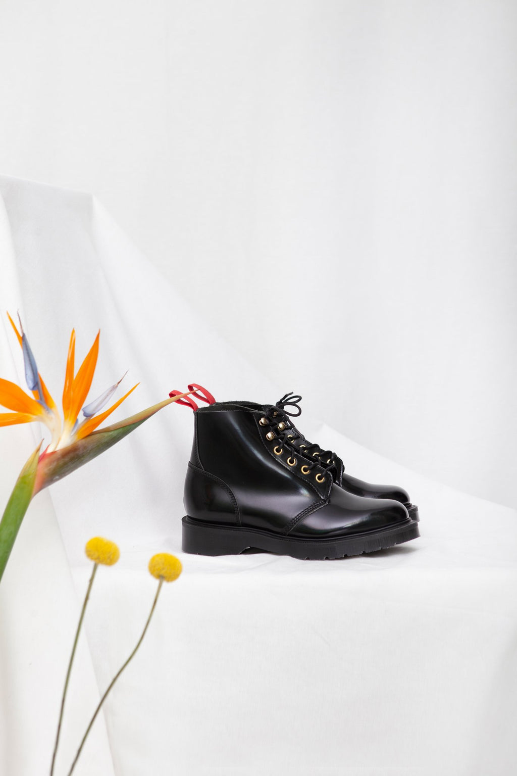 Miss L Fire x Solovair black leather chunky sole ladies Derby boot. Made in England.