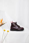Miss L Fire x Solovair burgundy rub off leather chunky sole Derby boot. Extremely comfortable. Small batch production, Made in England.