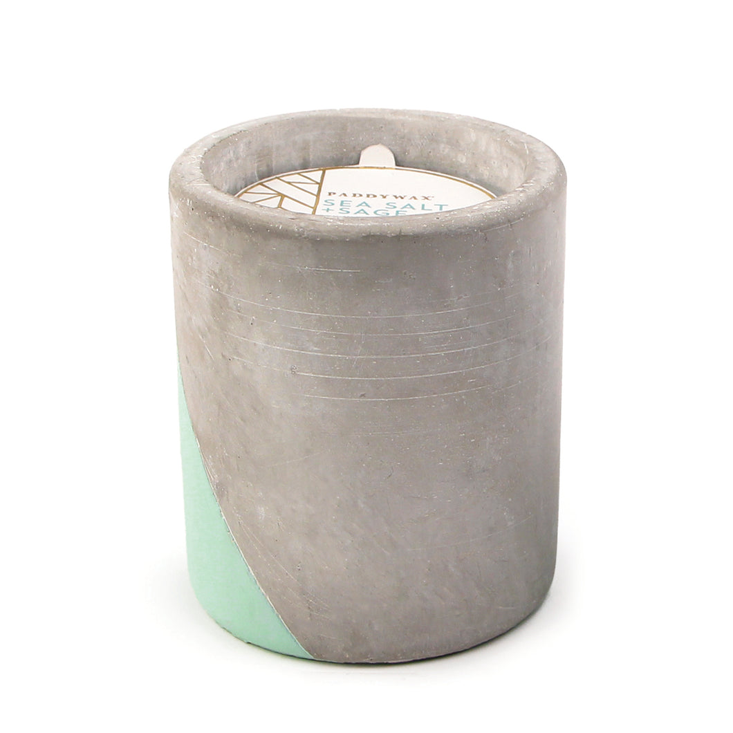 Beautiful scented candles in cast concrete re-usable pots available at Miss L Fire Boutique, San Marino, California