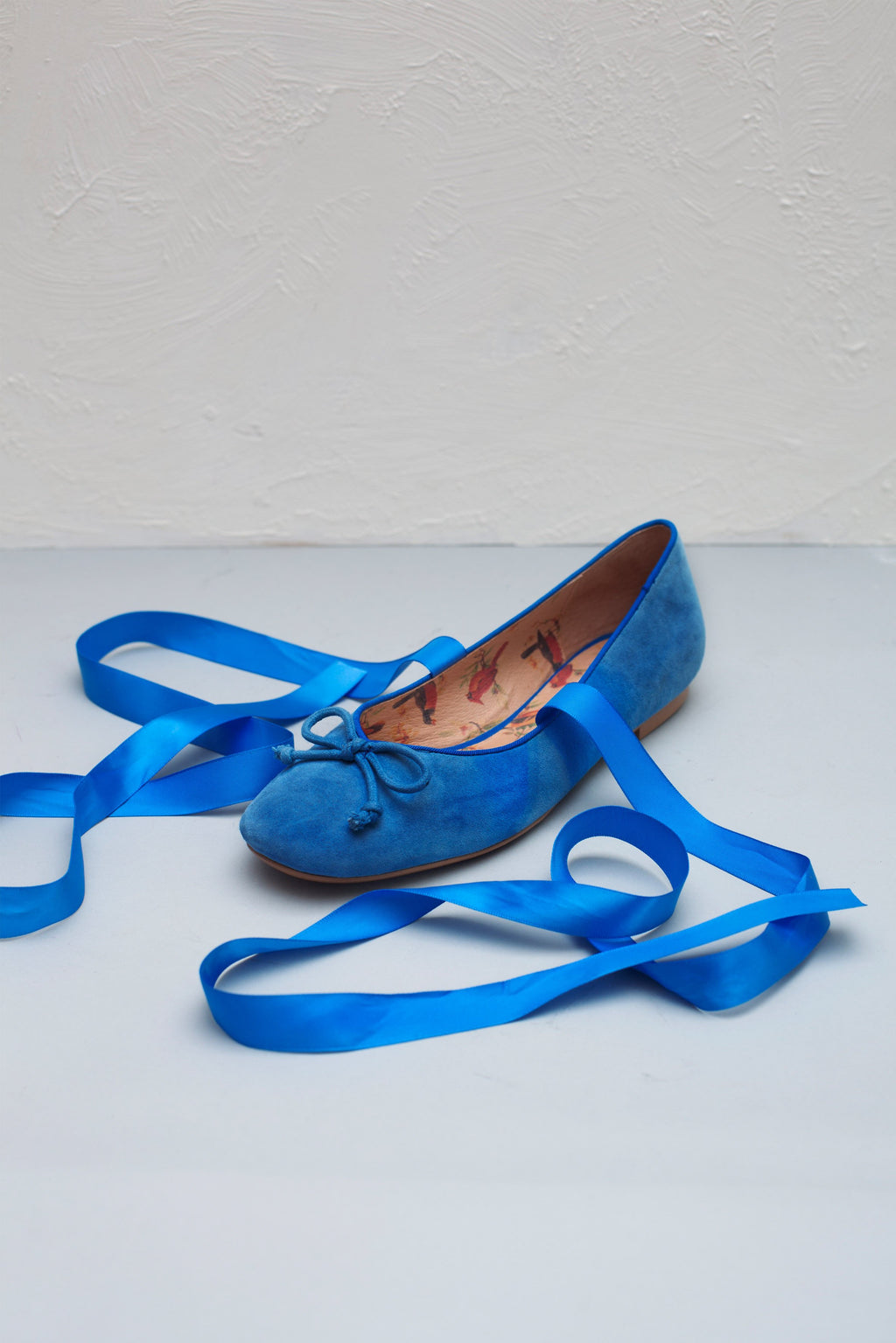 Margot cobalt blue ballerinas with satin ribbon ties by London based Designer Miss L Fire