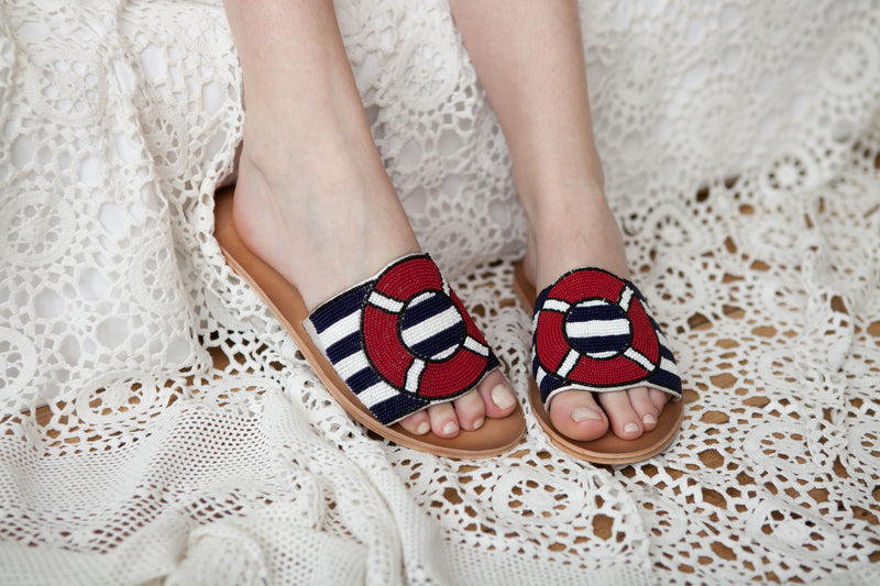All Aboard Navy Beaded Slide Sandal